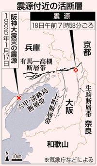大阪北部 活断層が集中/地表に近い直下型/過去にも大地震発生