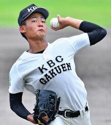 187センチの長身から繰り出す直球が武器のKBC未来沖縄の松竹嬉竜