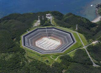 ケーブル落下事故があった「沖縄やんばる海水揚水発電所」=国頭村安波