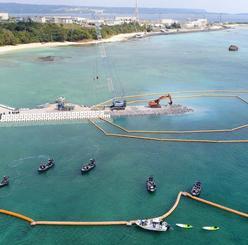 新基地建設が進むキャンプ・シュワブ沿岸=2月、名護市辺野古(小型無人機で撮影)