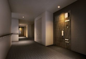 「リュークスタワー」のホテルライクな共用廊下(大和ハウス工業提供)