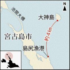 宮古島 島尻漁港と大神島位置図