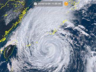 4日午前11時の台風25号(ひまわり8号リアルタイムwebから)