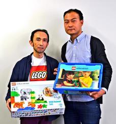 レゴ®スクールの概要を発表したレキサスの伊藤敦史氏(右)と安田陽氏=8日、沖縄タイムス社