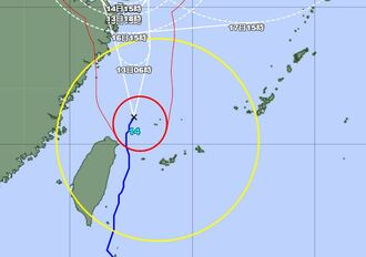 (拡大図)台風14号の経路図