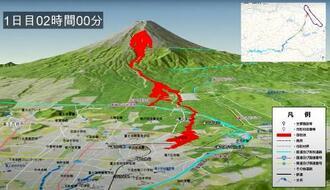 富士山噴火時の山梨県側火口から噴出する溶岩流のシミュレーション動画(同県のホームページから)