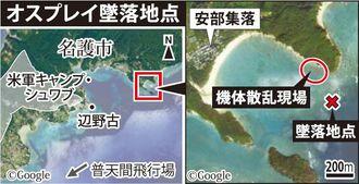 【地図】オスプレイが大破した海岸は名護市安部集落の近く