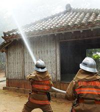 消防など連携 権現堂で訓練/石垣 文化財防火デー