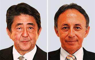 (左)安倍晋三首相(右)玉城デニー知事