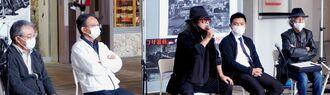 「コザ騒動」50年を前にシンポジウムに登壇した(左から)中根学さん、照屋寛則さん、佐渡山豊さん、前原洸大さん、司会の今郁義さん=19日、沖縄市のコザ・ミュージックタウン