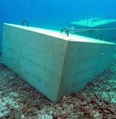 斜めに傾き、海底にめり込むアンカー用の20トンコンクリートブロック(ヘリ基地反対協ダイビングチーム提供)