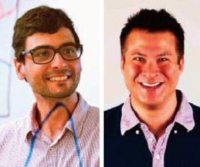 (左から)フィリップ・タヴァレス-カデットゥ博士、ニコラス・ラスカム教授(いずれもOIST提供)