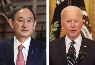 菅義偉首相、バイデン米大統領(ロイター=共同)