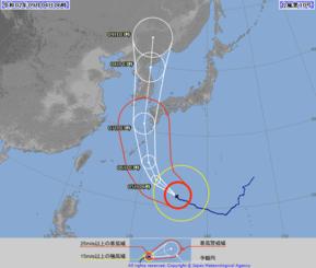 4日午前6時現在の台風10号の予想進路図(気象庁HPから引用)