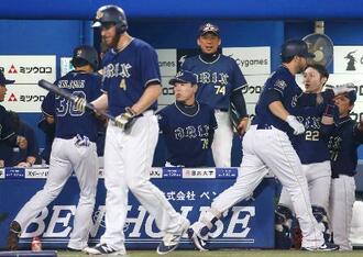 8回、逆転2ランを放ったロメロ(手前右)らを迎えるオリックスベンチ。中央は福良監督=横浜