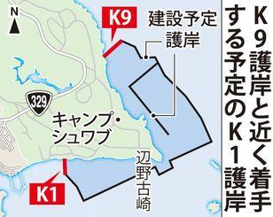 辺野古 K9護岸と近く着手する予定のK1護岸