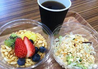 「でいご食堂」で販売される朝食メニュー、ライスグラノーラのセット
