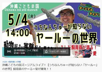 沖縄こどもの国の公式You Tubeの画面