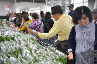 うるま市産の野菜などを手に取る来場者ら=1日、うるま市前原の「うるマルシェ」