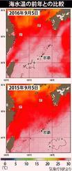 海水温の前年との比較