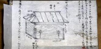 刊行本には収載されていない百按司墓の棺箱のスケッチ