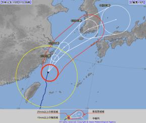 台風18号の針路予想図(気象庁HPより)