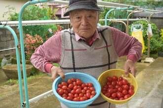 喜屋武文雄さんと収穫したミニトマト