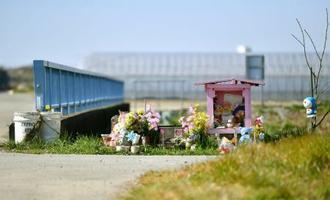 レェ・ティ・ニャット・リンさんの遺体が遺棄された現場付近に供えられた花=24日午前、千葉県我孫子市