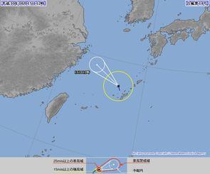 台風18号進路予想図(15日12時、気象庁HPから)