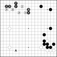 [第64期・沖縄本因坊戦]/浦添1次予選 決勝戦/第2譜/(21〜31)