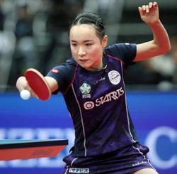 女子シングルスで決勝進出を決めた伊藤美誠=丸善インテックアリーナ大阪