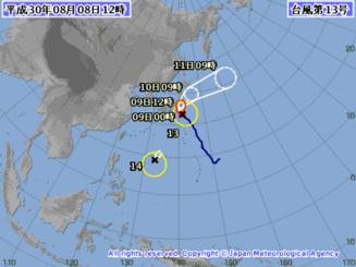 台風13、14号の進路予想図(気象庁HPから)