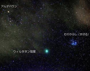 15日から18日にかけて、むりかぶしのそばを通過するウィルタネン彗星=16日午前1時ごろ、石垣市(宮地竹史さん撮影。写真中の説明も)