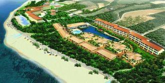 ルートイングループの新ホテル「グランヴィリオリゾート石垣島ヴィラ」の完成予想図。左上の施設が既存の「石垣リゾートグランヴィリオホテル」(同社提供)