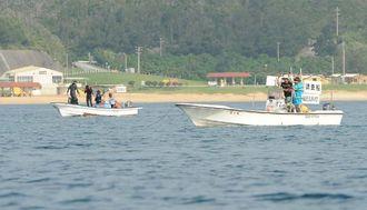 調査や警戒に当たる船舶が確認されたキャンプ・シュワブ沖=1日午前8時44分、名護市辺野古