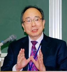名古屋市で講演する日銀の雨宮正佳副総裁=20日午後