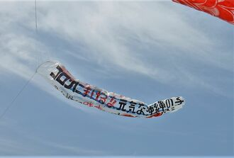 「コロナに負けるな!元気な沖縄の子」と書かれた吹き流し=3日、沖縄県糸満市の平和祈念公園