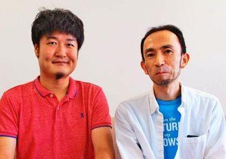 レキサスの常盤木龍治マネージャー(左)と安田陽氏=2日、沖縄タイムス社