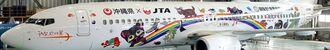 世界自然遺産登録に向け、子どもたちが描いたやんばると西表島の自然の絵をラッピングしたJTA機=20日、那覇空港