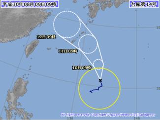 台風14号の進路予想図(気象庁HPから)