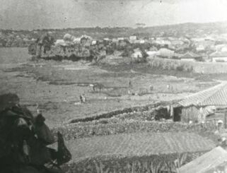 当時の那覇市若狭付近の沿岸部。海岸には人影が見える(山田礼雄さん提供)