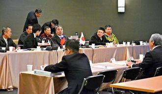 日台双方の漁業者間会合。日台漁業協定の対象水域での操業のあり方を議論した=21日、台北市の集思台大會議センター
