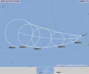 台風13号の進路予想図。左上が沖縄地方(気象庁HPから)