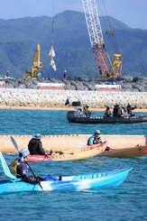 沖縄県名護市辺野古のキャンプ・シュワブ沿岸部(12月14日午前)