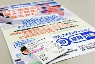 スイッチOTC薬の購入で受けられる税控除のポスター。対象商品を購入するとレシートに「★」などの印がある。