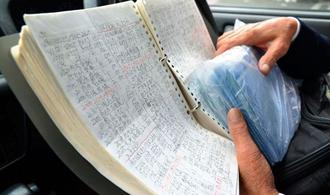 ルーズリーフに自分で書き留めている労働時間。給与明細も袋に入れて保管している。金城さんは「何かあった時の証拠」と話す