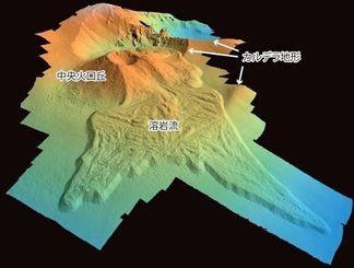 海底調査で明らかになった第3宮古海丘の詳細な地形図(海上保安庁提供)