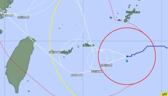 21日午前11時現在の台風6号の経路図(気象庁HPから)