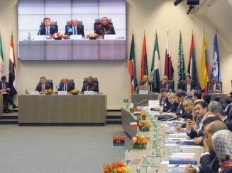ウィーンで開かれた石油輸出国機構(OPEC)と一部のOPEC非加盟国の会合=22日(共同)