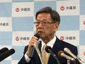 人間ドックと再検査の結果、すい臓の腫瘍が見つかったと発表する翁長雄志知事=10日、浦添市内の病院
